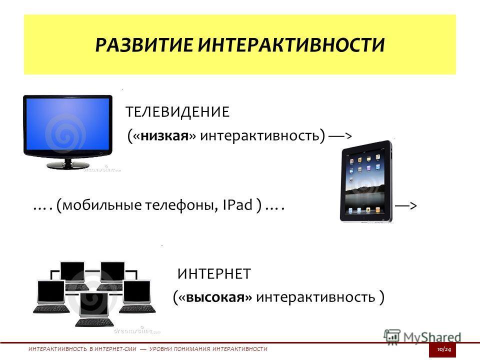 ИНТЕРАКТИИВНОСТЬ В ИНТЕРНЕТ-СМИ УРОВНИ ПОНИМАНИЯ ИНТЕРАКТИВНОСТИ10/24 ТЕЛЕВИДЕНИЕ («низкая» интерактивность) > …. (мобильные телефоны, IPad ) …. > ИНТЕРНЕТ («высокая» интерактивность ) РАЗВИТИЕ ИНТЕРАКТИВНОСТИ