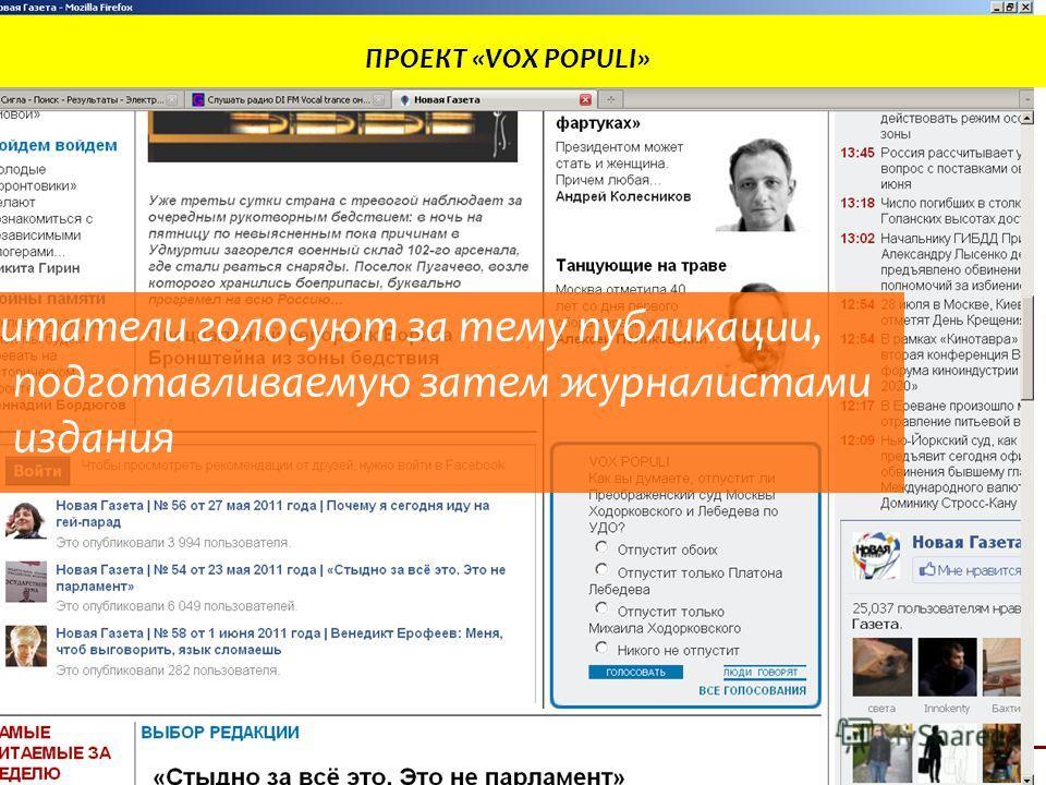 ИНТЕРАКТИВНОСТЬ В ИНТЕРНЕТ-СМИ КЕЙС «ИСПОЛЬЗОВАНИЕ ИНТЕРАКТИВНЫХ СЕРВИСОВ НОВОЙ ГАЗЕТОЙ» 21/24 ПРОЕКТ «VOX POPULI» Читатели голосуют за тему публикации, подготавливаемую затем журналистами издания
