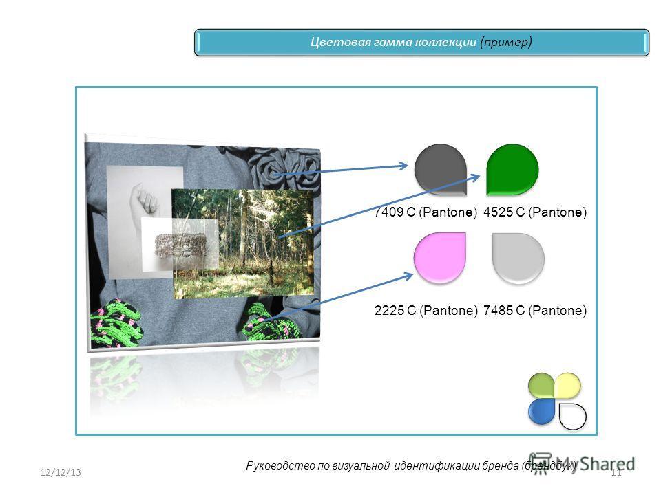 12/12/1311 7409 С (Pantone)4525 С (Pantone) 2225 С (Pantone)7485 С (Pantone) Цветовая гамма коллекции (пример) Руководство по визуальной идентификации бренда (брендбук)