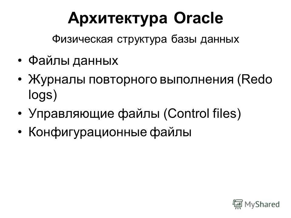 Архитектура Oracle Физическая структура базы данных Файлы данных Журналы повторного выполнения (Redo logs) Управляющие файлы (Control files) Конфигурационные файлы