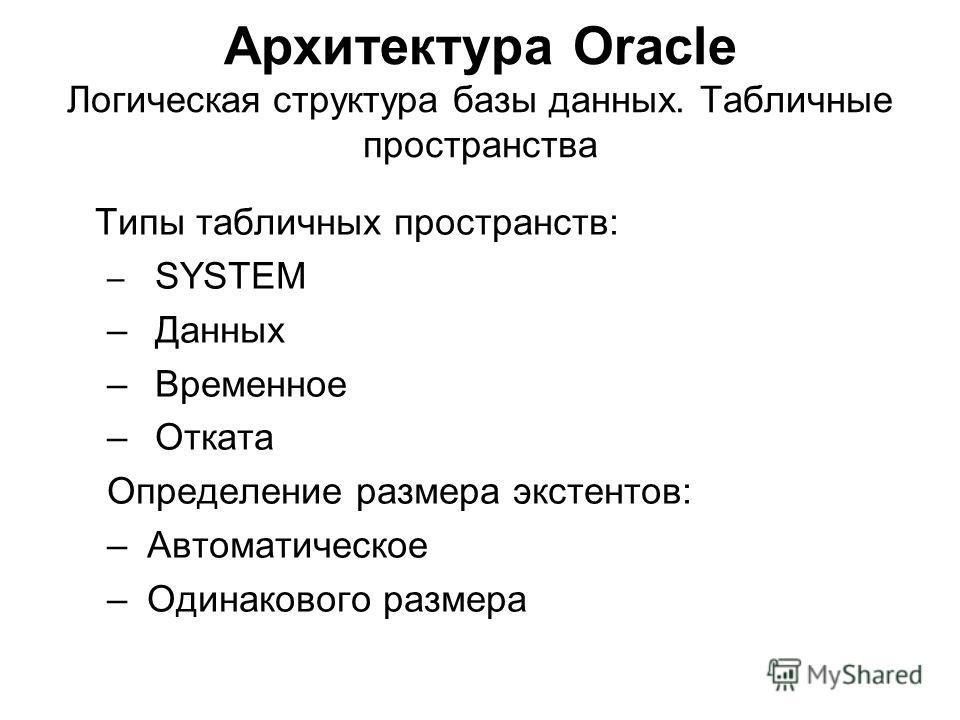 Архитектура Oracle Логическая структура базы данных. Табличные пространства Типы табличных пространств: – SYSTEM –Данных –Временное –Отката Определение размера экстентов: – Автоматическое – Одинакового размера