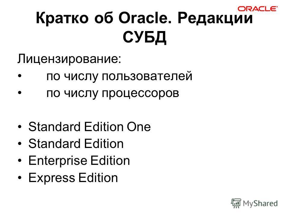 Кратко об Oracle. Редакции СУБД Лицензирование: по числу пользователей по числу процессоров Standard Edition One Standard Edition Enterprise Edition Express Edition