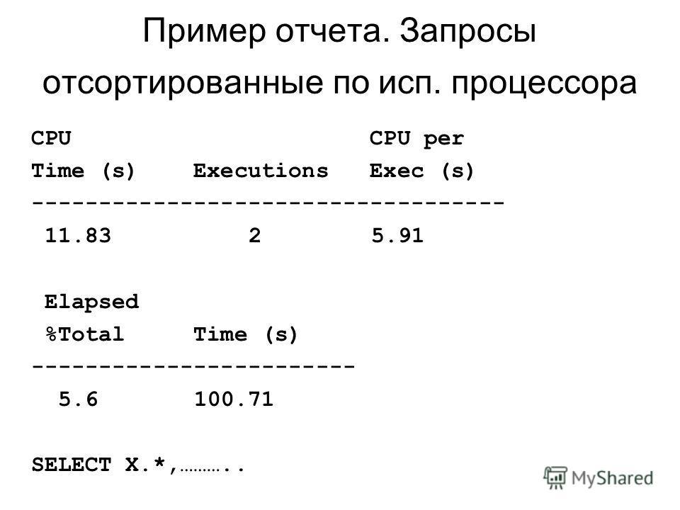 Пример отчета. Запросы отсортированные по исп. процессора CPU CPU per Time (s) Executions Exec (s) ----------------------------------- 11.83 25.91 Elapsed %Total Time (s) ------------------------ 5.6 100.71 SELECT X.*,………..