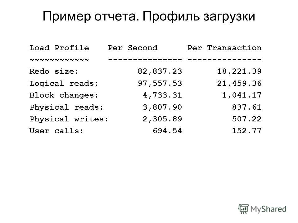 Пример отчета. Профиль загрузки Load Profile Per Second Per Transaction ~~~~~~~~~~~~ --------------- --------------- Redo size: 82,837.23 18,221.39 Logical reads: 97,557.53 21,459.36 Block changes: 4,733.31 1,041.17 Physical reads: 3,807.90 837.61 Ph