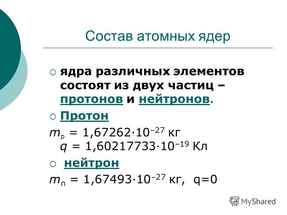 Состав атомных ядер ядра различных элементов состоят из двух частиц – протонов и нейтронов. протоновнейтронов Протон m p = 1,67262·10 –27 кг q = 1,60217733·10 –19 Кл нейтрон m n = 1,67493·10 –27 кг, q=0