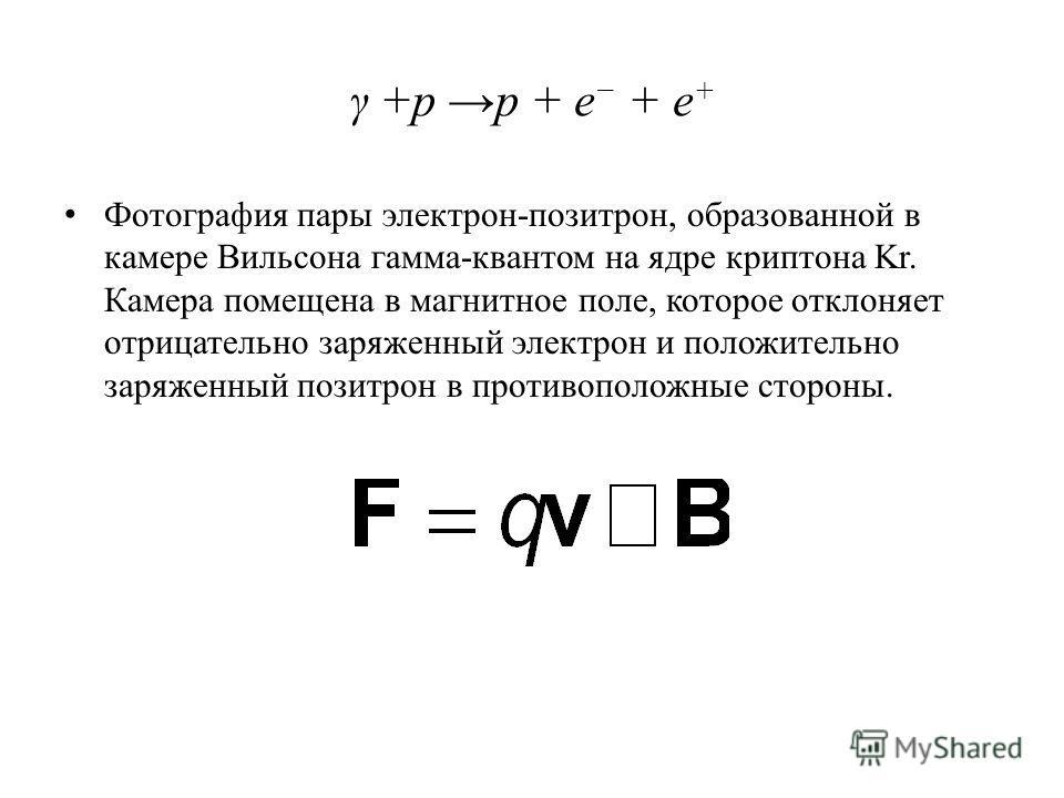 γ +p p + e + e + Фотография пары электрон-позитрон, образованной в камере Вильсона гамма-квантом на ядре криптона Kr. Камера помещена в магнитное поле, которое отклоняет отрицательно заряженный электрон и положительно заряженный позитрон в противопол