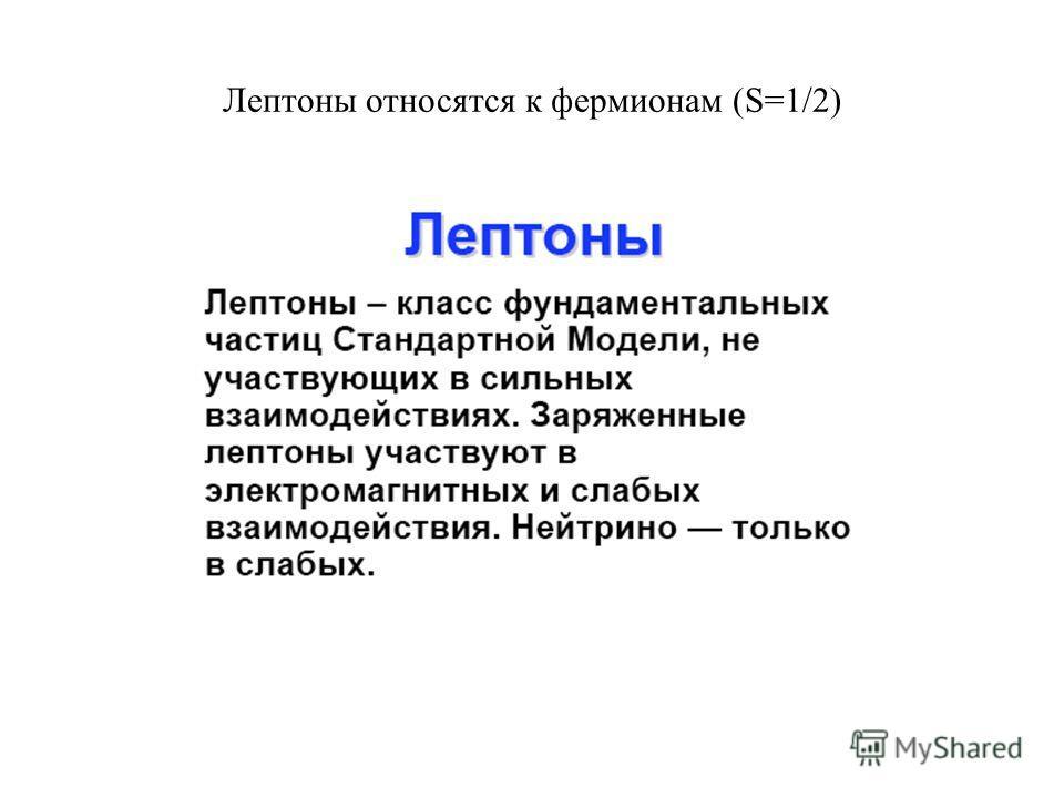 Лептоны относятся к фермионам (S=1/2)