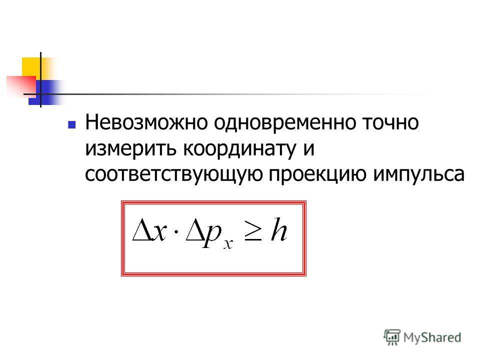 Невозможно одновременно точно измерить координату и соответствующую проекцию импульса