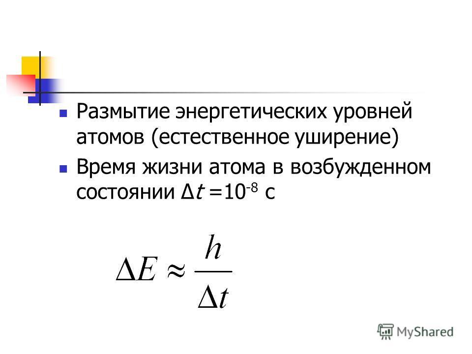 Размытие энергетических уровней атомов (естественное уширение) Время жизни атома в возбужденном состоянии Δt =10 -8 с