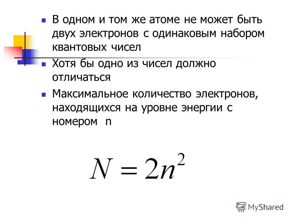 В одном и том же атоме не может быть двух электронов с одинаковым набором квантовых чисел Хотя бы одно из чисел должно отличаться Максимальное количество электронов, находящихся на уровне энергии с номером n