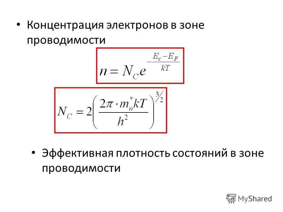 Концентрация электронов в зоне проводимости Эффективная плотность состояний в зоне проводимости