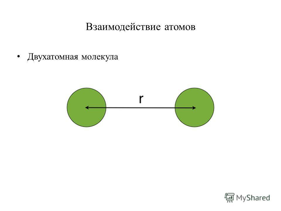 Взаимодействие атомов Двухатомная молекула