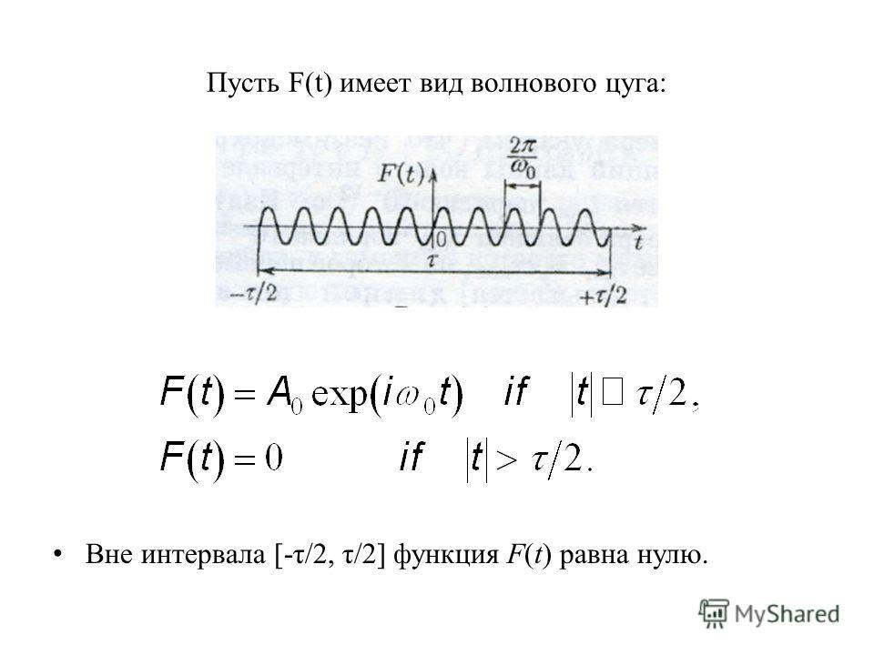 Пусть F(t) имеет вид волнового цуга: Вне интервала [-τ/2, τ/2] функция F(t) равна нулю.