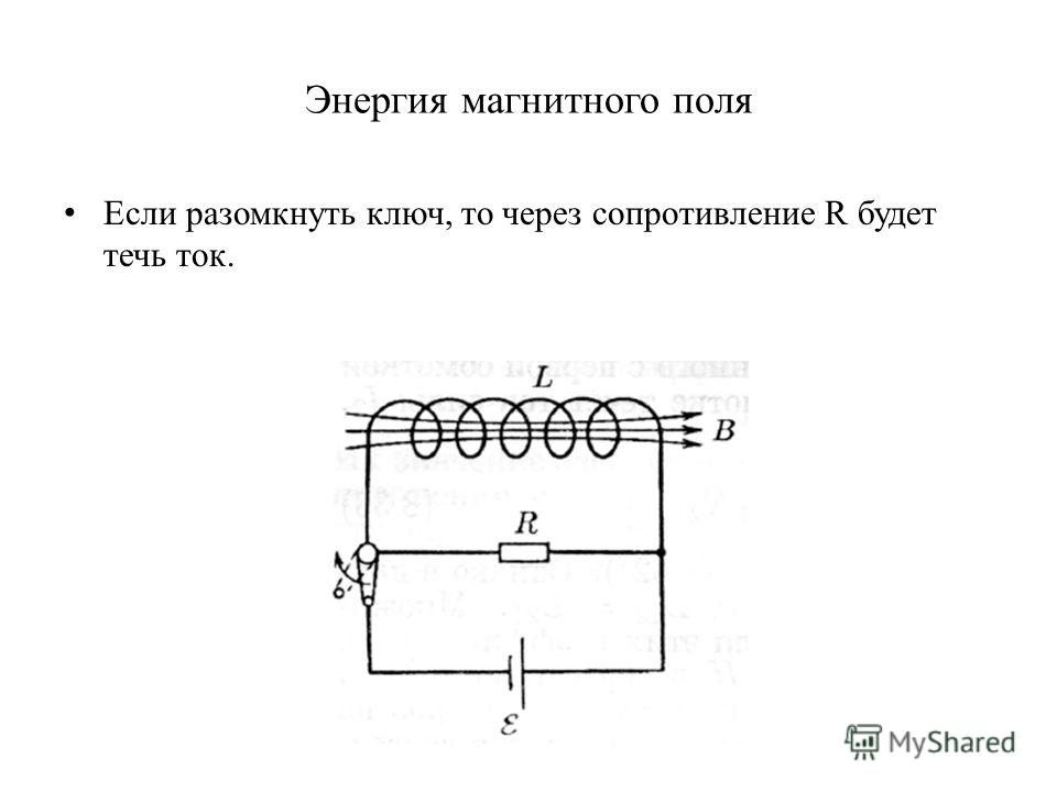 Энергия магнитного поля Если разомкнуть ключ, то через сопротивление R будет течь ток.