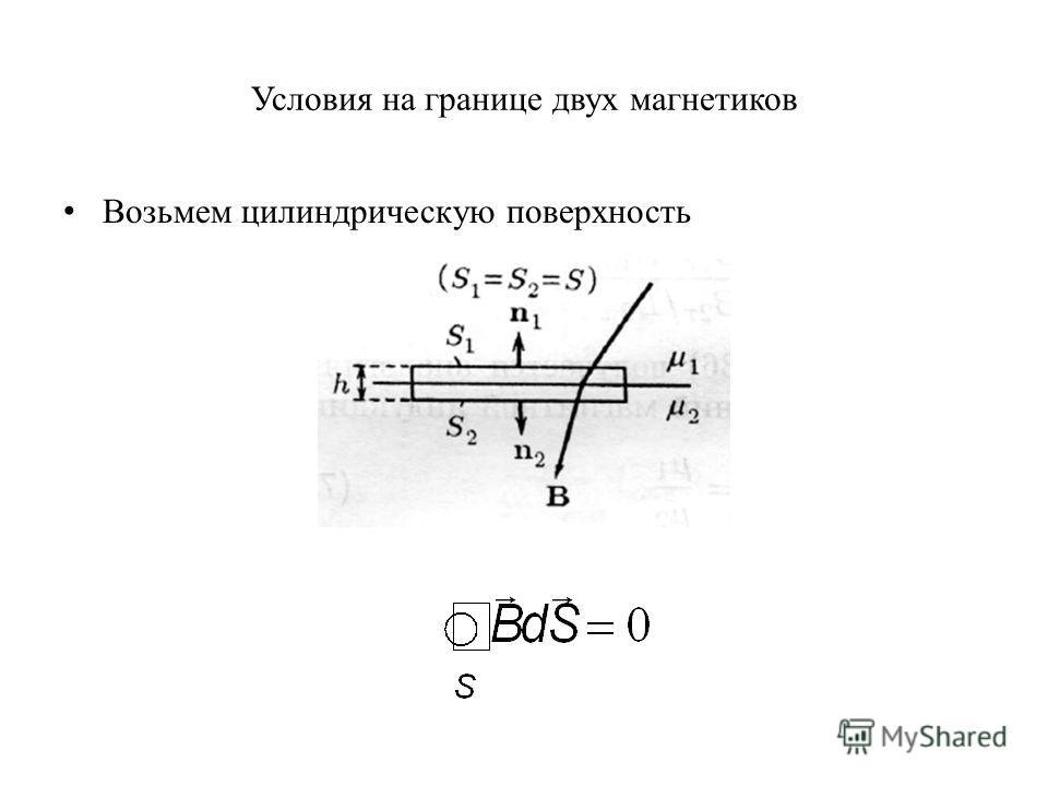 Условия на границе двух магнетиков Возьмем цилиндрическую поверхность
