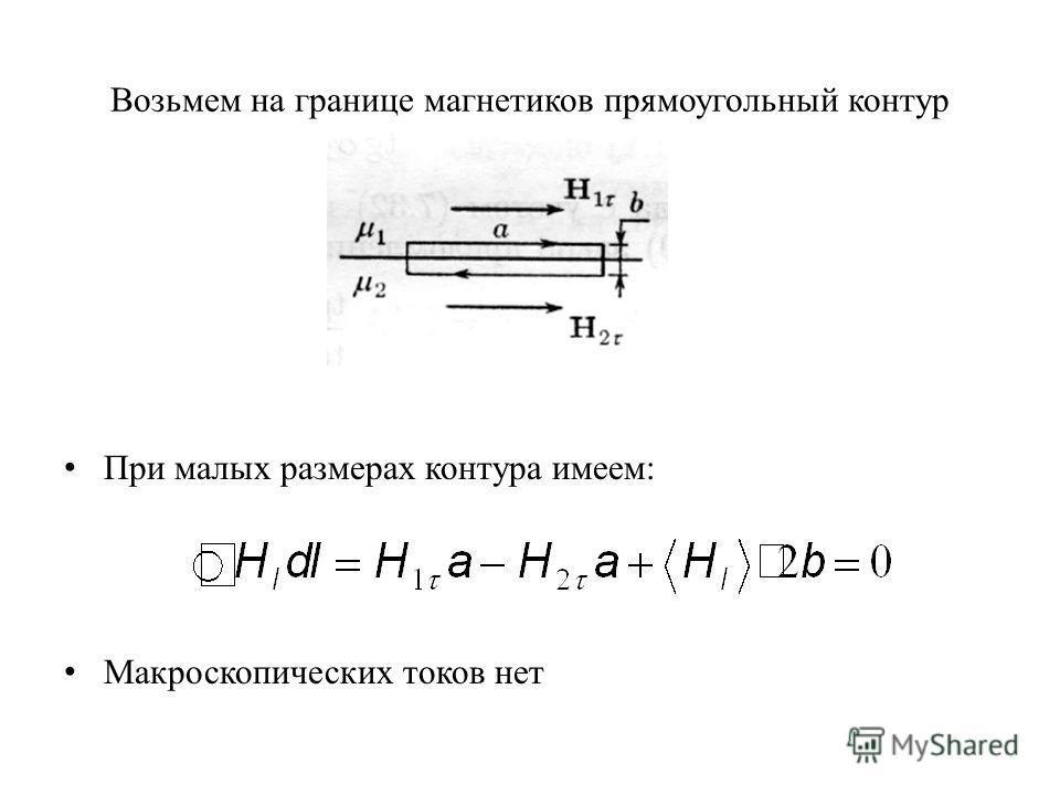 Возьмем на границе магнетиков прямоугольный контур При малых размерах контура имеем: Макроскопических токов нет