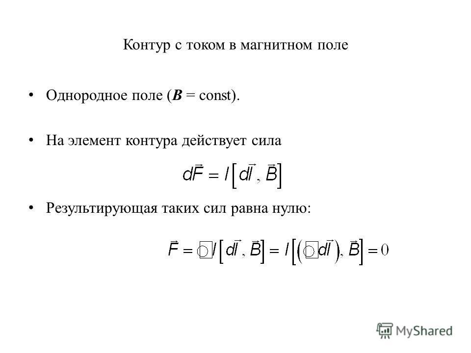 Контур с током в магнитном поле Однородное поле (B = const). На элемент контура действует сила Результирующая таких сил равна нулю: