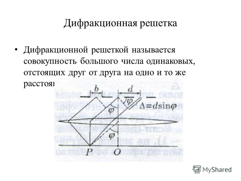 Дифракционная решетка Дифракционной решеткой называется совокупность большого числа одинаковых, отстоящих друг от друга на одно и то же расстояние щелей.