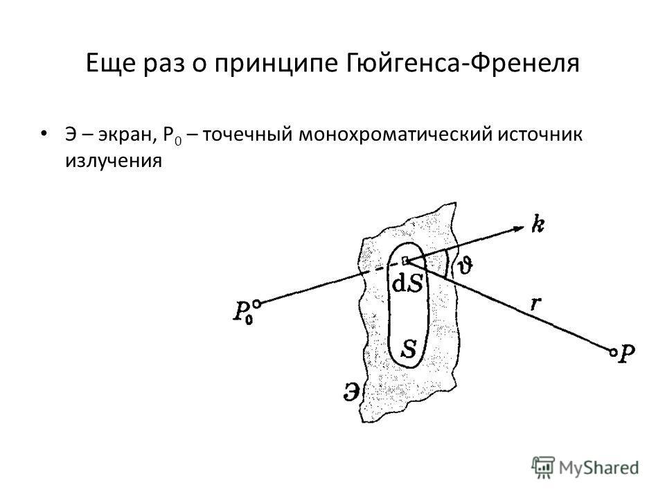 Еще раз о принципе Гюйгенса-Френеля Э – экран, Р 0 – точечный монохроматический источник излучения