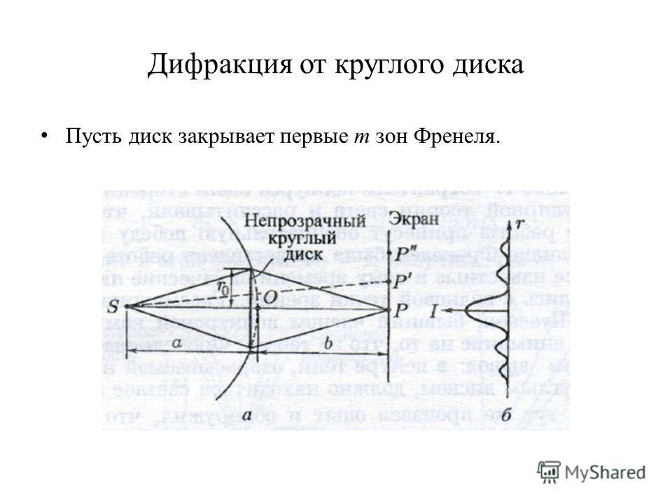 Дифракция от круглого диска Пусть диск закрывает первые m зон Френеля.