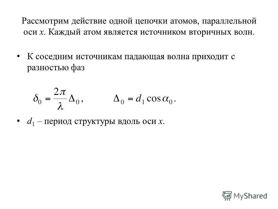 Рассмотрим действие одной цепочки атомов, параллельной оси x. Каждый атом является источником вторичных волн. К соседним источникам падающая волна приходит с разностью фаз d 1 – период структуры вдоль оси x.