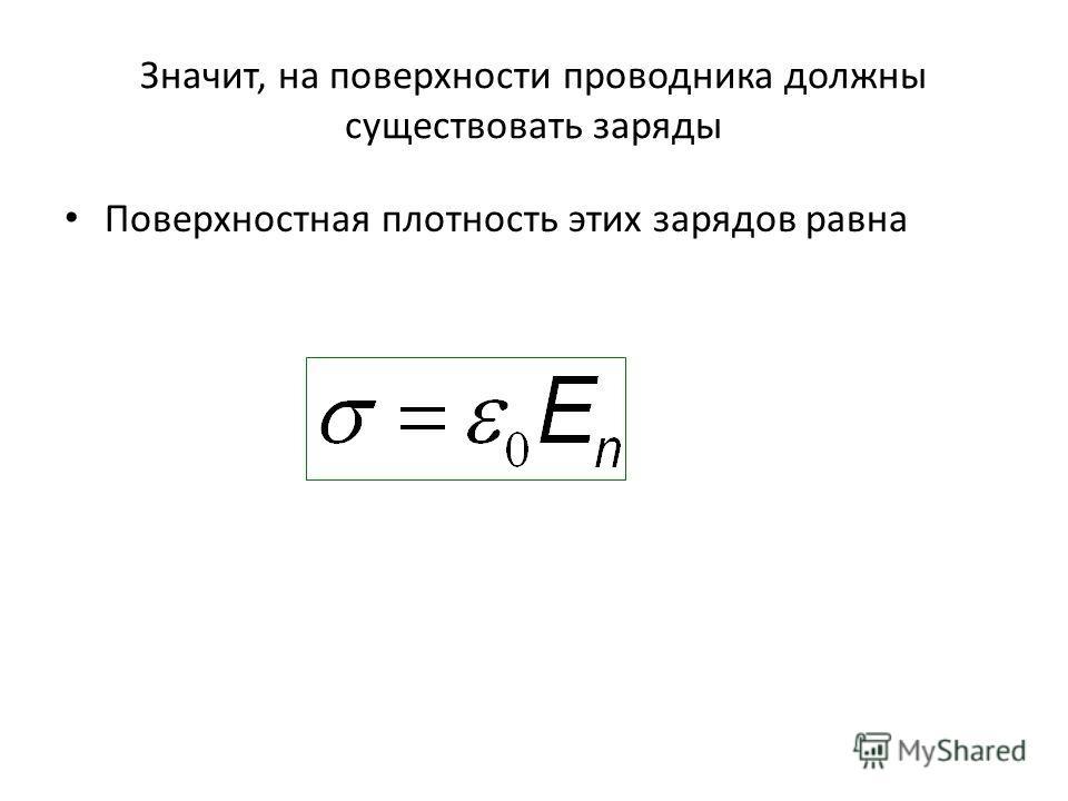 Значит, на поверхности проводника должны существовать заряды Поверхностная плотность этих зарядов равна