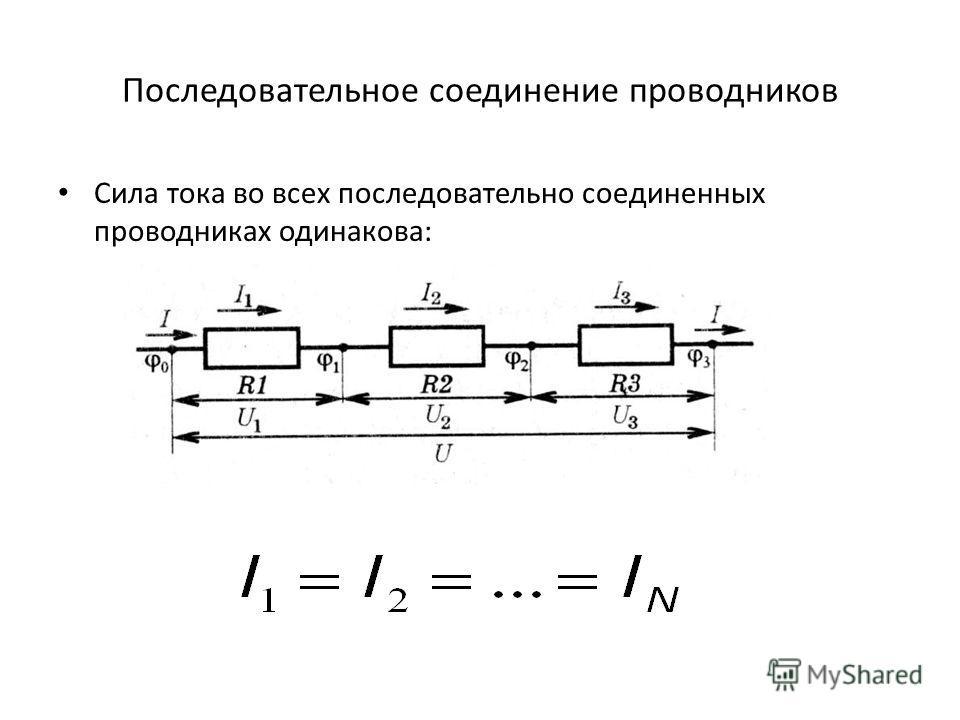 Последовательное соединение проводников Сила тока во всех последовательно соединенных проводниках одинакова: