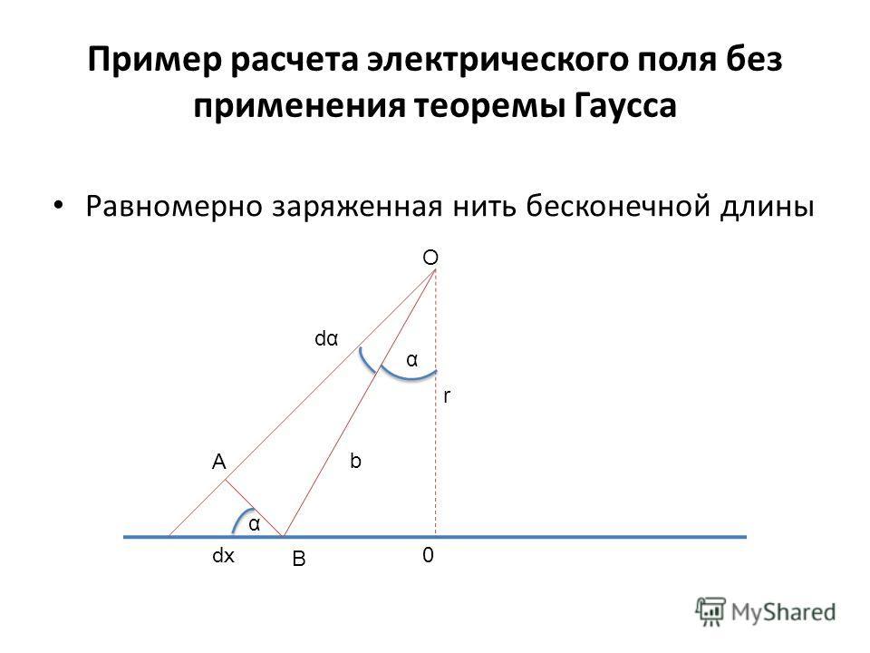 Пример расчета электрического поля без применения теоремы Гаусса Равномерно заряженная нить бесконечной длины α dα r α b dx A B O 0