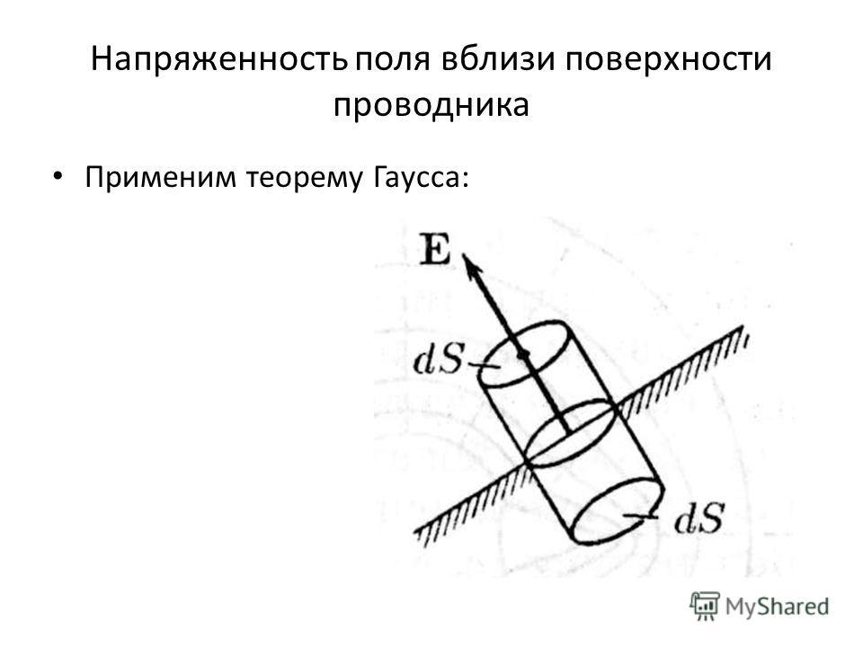 Напряженность поля вблизи поверхности проводника Применим теорему Гаусса: