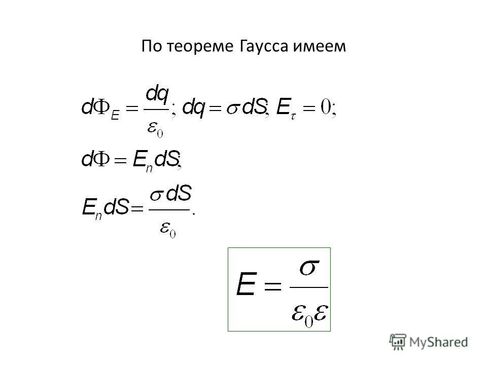 По теореме Гаусса имеем