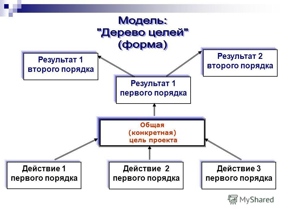 Общая (конкретная) цель проекта Результат 1 первого порядка Результат 1 второго порядка Результат 2 второго порядка Действие 1 первого порядка Действие 2 первого порядка Действие 3 первого порядка