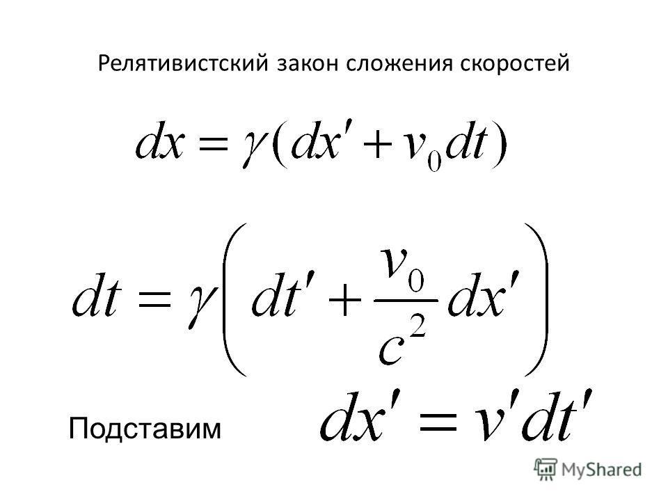 Релятивистский закон сложения скоростей Подставим