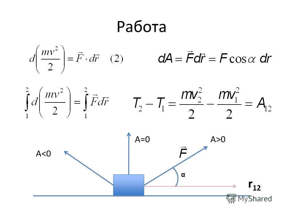 Работа r 12 α A>0A=0 A