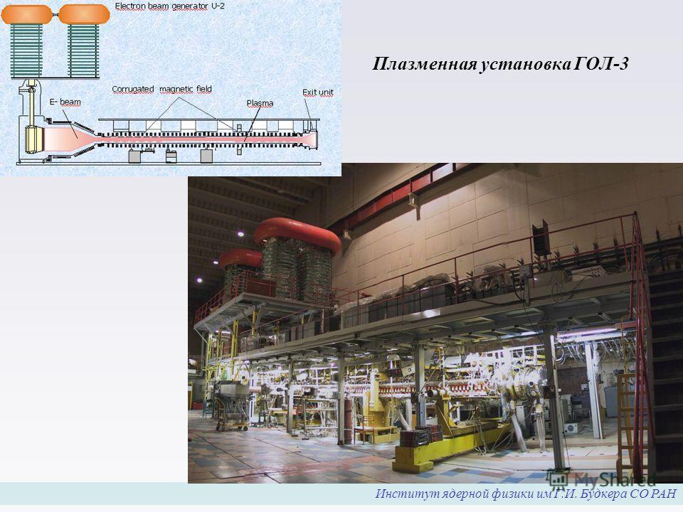 Институт ядерной физики им Г.И. Будкера СО РАН Плазменная установка ГОЛ-3