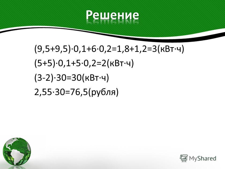 (9,5+9,5)·0,1+6·0,2=1,8+1,2=3(кВт·ч) (5+5)·0,1+5·0,2=2(кВт·ч) (3-2)·30=30(кВт·ч) 2,55·30=76,5(рубля)