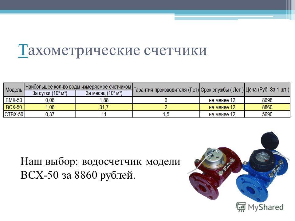 ТТахометрические счетчики Наш выбор: водосчетчик модели ВСХ-50 за 8860 рублей.