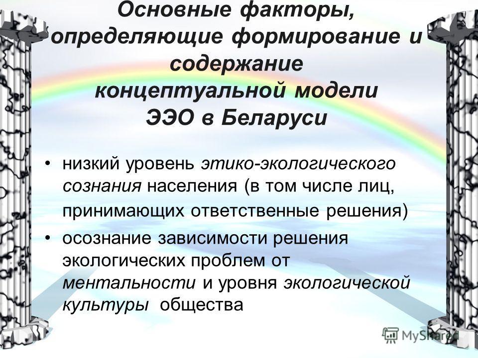 Основные факторы, определяющие формирование и содержание концептуальной модели ЭЭО в Беларуси низкий уровень этико-экологического сознания населения (в том числе лиц, принимающих ответственные решения) осознание зависимости решения экологических проб