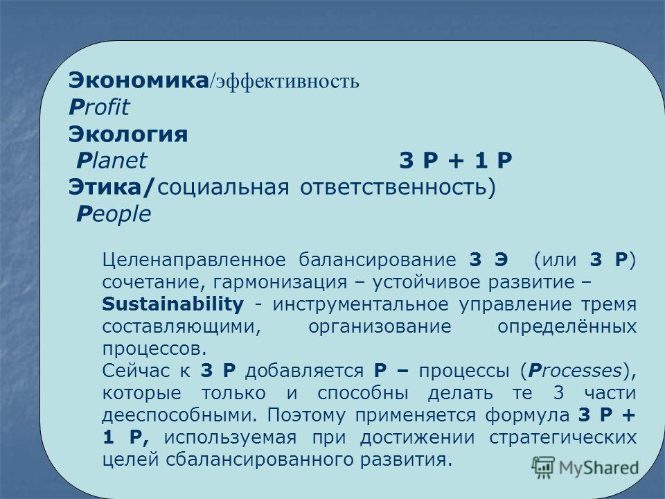 Экономика /эффективность Profit Экология Planet 3 P + 1 P Этика/социальная ответственность) People Целенаправленное балансирование 3 Э (или 3 P) сочетание, гармонизация – устойчивое развитие – Sustainability - инструментальное управление тремя состав