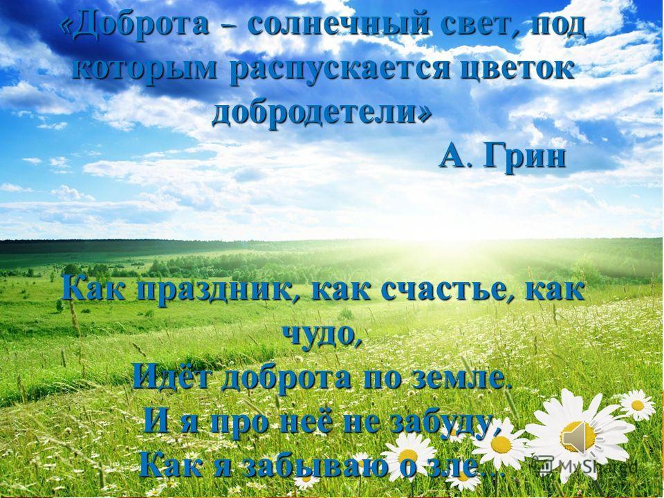 « Доброта – солнечный свет, под которым распускается цветок добродетели » А. Грин Как праздник, как счастье, как чудо, Идёт доброта по земле. И я про неё не забуду, Как я забываю о зле... « Доброта – солнечный свет, под которым распускается цветок до