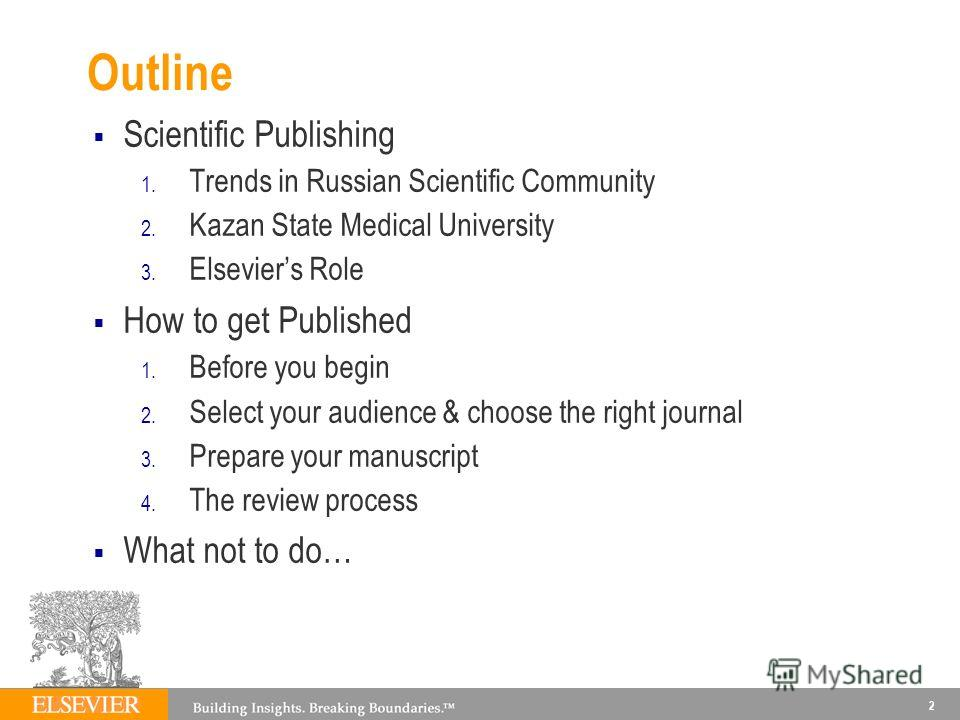 Outline Scientific Publishing 1. Trends in Russian Scientific Community 2. Kazan State Medical University 3. Elseviers Role How to get Published 1. Before you begin 2. Select your audience & choose the right journal 3. Prepare your manuscript 4. The