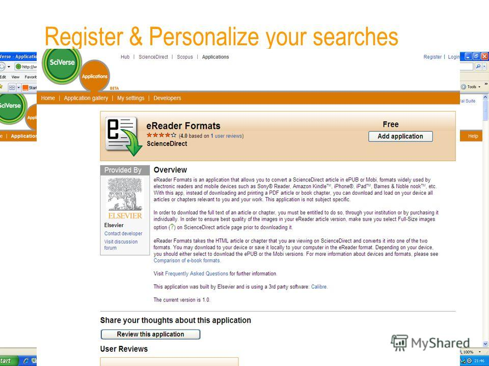 Register & Personalize your searches