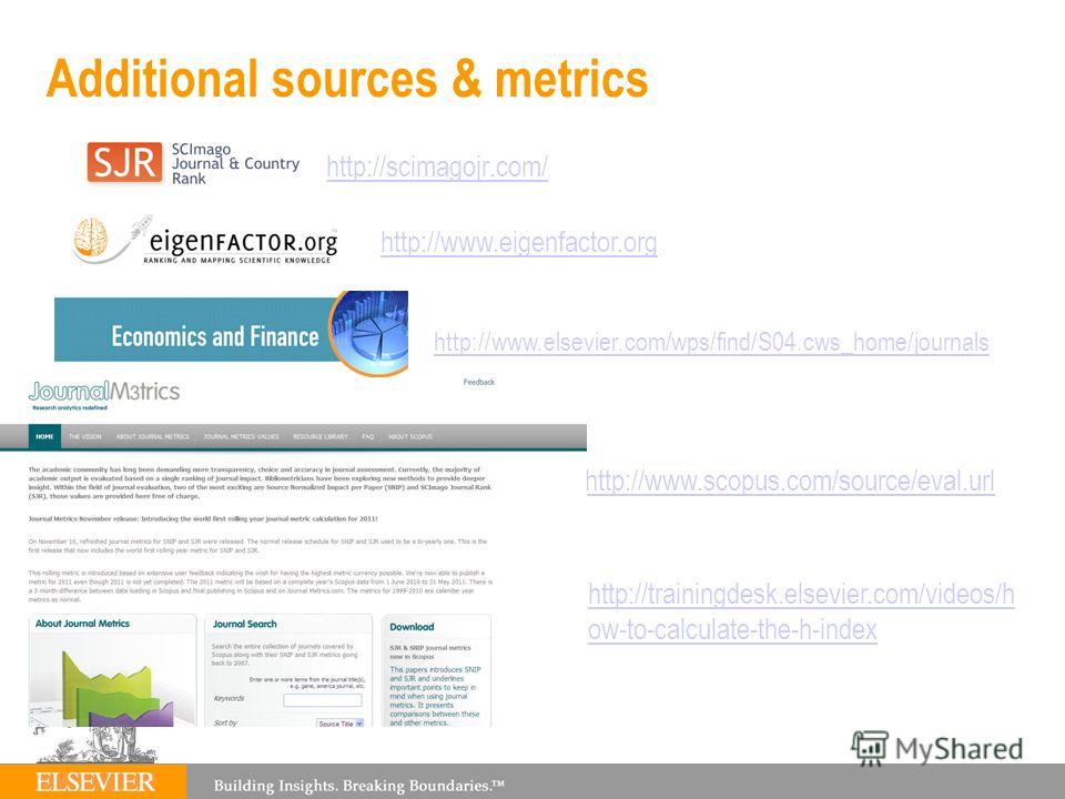 Additional sources & metrics http://scimagojr.com/ http://www.eigenfactor.org http://www.scopus.com/source/eval.url http://www.elsevier.com/wps/find/S04.cws_home/journals http://trainingdesk.elsevier.com/videos/h ow-to-calculate-the-h-index
