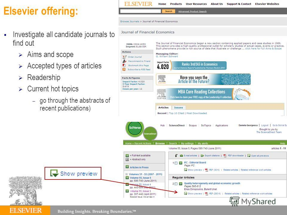 Elsevier offering: Investigate all candidate journals to find out Aims and scope Accepted types of articles Readership Current hot topics – go through the abstracts of recent publications)