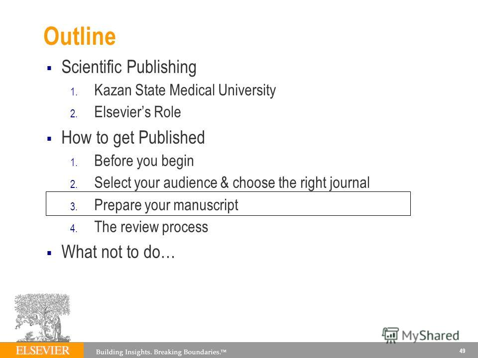 Outline Scientific Publishing 1. Kazan State Medical University 2. Elseviers Role How to get Published 1. Before you begin 2. Select your audience & choose the right journal 3. Prepare your manuscript 4. The review process What not to do… 49