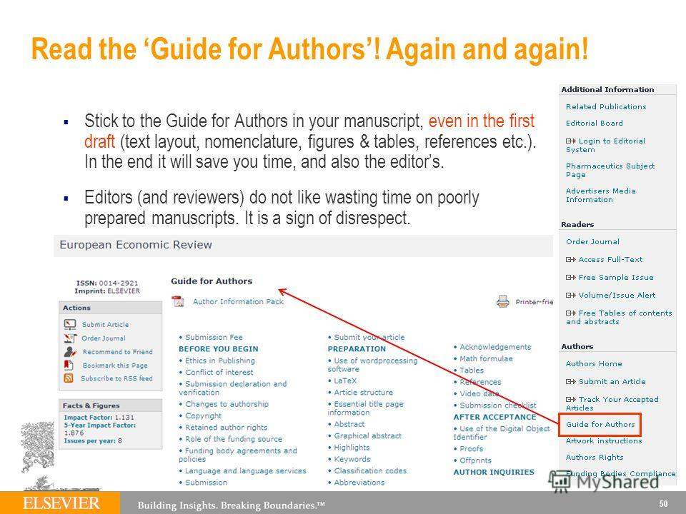 Read the Guide for Authors! Again and again! Stick to the Guide for Authors in your manuscript, even in the first draft (text layout, nomenclature, figures & tables, references etc.). In the end it will save you time, and also the editors. Editors (a
