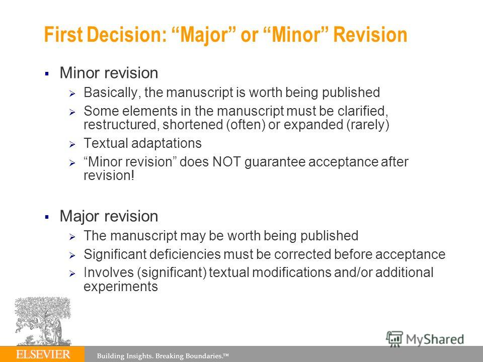 First Decision: Major or Minor Revision Minor revision Basically, the manuscript is worth being published Some elements in the manuscript must be clarified, restructured, shortened (often) or expanded (rarely) Textual adaptations Minor revision does