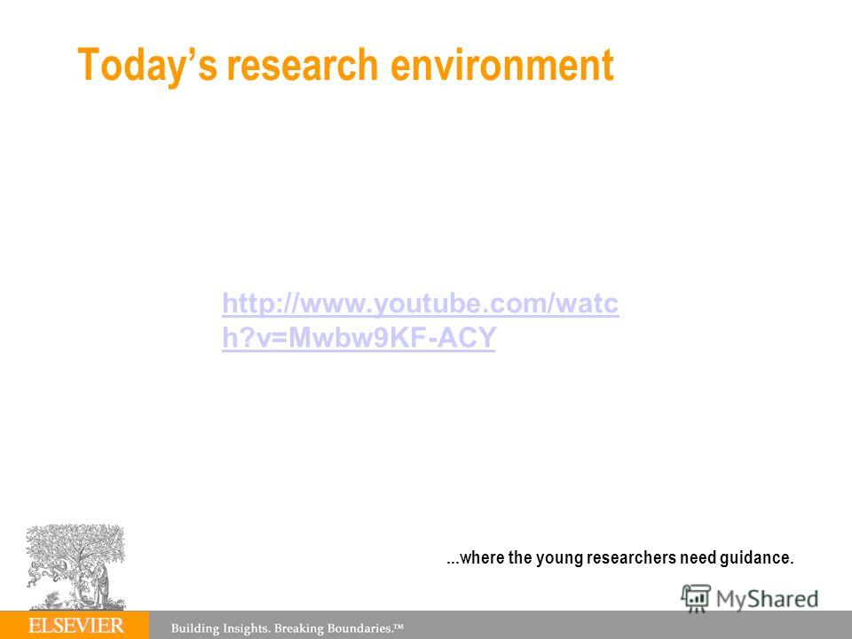 Todays research environment 87...where the young researchers need guidance. http://www.youtube.com/watc h?v=Mwbw9KF-ACY