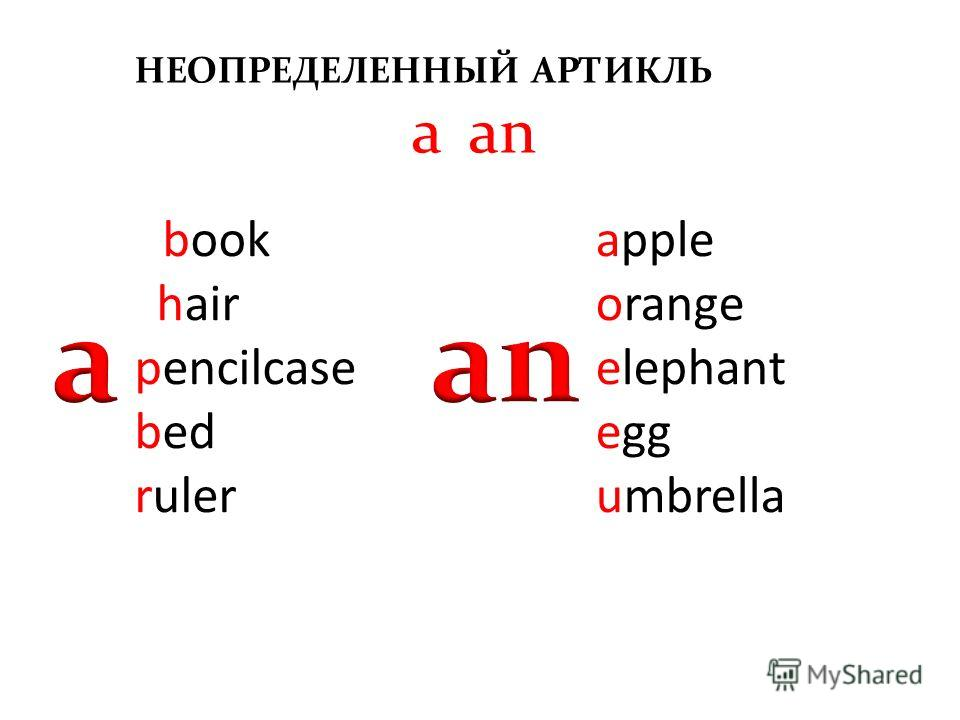 bbook chair pencilcase bed ruler НЕОПРЕДЕЛЕННЫЙ АРТИКЛЬ a/an apple orange elephant egg umbrella