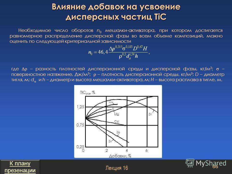 Необходимое число оборотов n 0 мешалки-активатора, при котором достигается равномерное распределение дисперсной фазы во всем объеме композиций, можно оценить по следующей критериальной зависимости где – разность плотностей дисперсионной среды и диспе