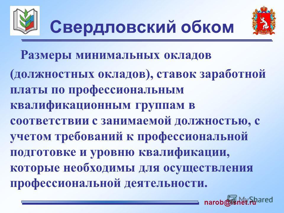 Свердловский обком Размеры минимальных окладов (должностных окладов), ставок заработной платы по профессиональным квалификационным группам в соответствии с занимаемой должностью, с учетом требований к профессиональной подготовке и уровню квалификации